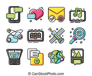 set of icons social network on white background