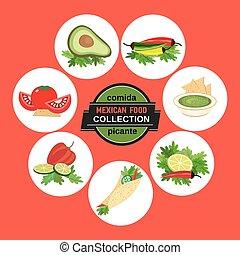 Set of icons. Spicy cuisine