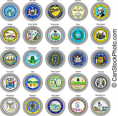 Set of icons. States of USA seals. 3D.