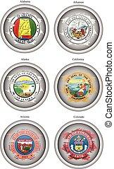 Set of icons. States of USA seals.