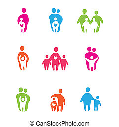 parents and children - set of icons - the parents and...