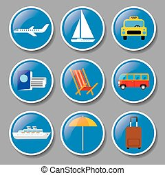 set of icons travel concept