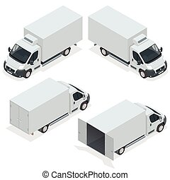 Set of icons truck for transportation cargo. Van for the carriage of cargo. Delivery car. Vector isometric illustration.