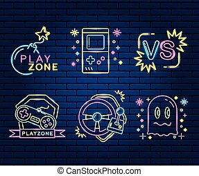 set of icons video game neon vector illustration