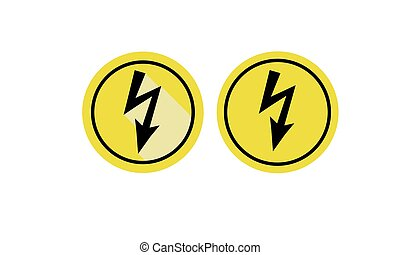 Set of icons warning of dangerous electrical voltage