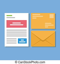 Set of icons with a picture of a closed letter. Paper document enclosed in an envelope. Delivery of correspondence or office documents. Vector illustration isolated on blue background.
