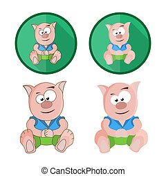 Set of icons with a toy animal. Full color vector illustration.