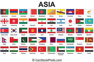 Asian countries flags - set of icons with Asian countries...