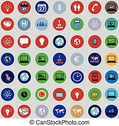 set of icons with bisiness elements in flat design - set of...