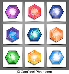 set of icons with crystals