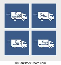 Set of icons with delivery car on square background - Set of...
