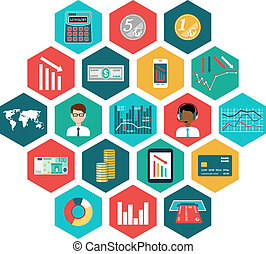 Set of  icons with financial infographics