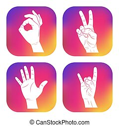 Set of icons with hands