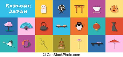 Set of icons with Japanese landmarks, architecture, food in vector