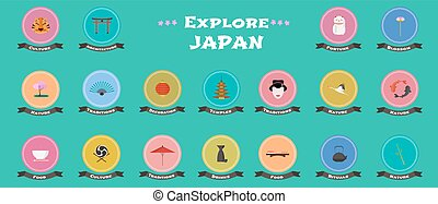 Set of icons with Japanese landmarks, objects, architecture in vector
