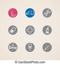 set of icons with medical items