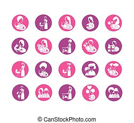 set of icons with mother and baby, silhouette style icon