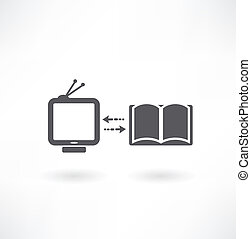 Set of icons with PC, books and TV set