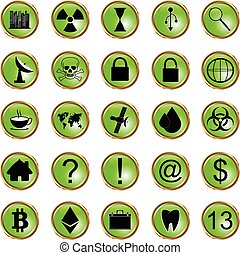 set of icons with reflection on a green background.