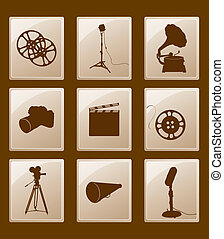 Set of icons with retro silhouettes