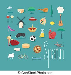 Set of icons with Spanish landmarks in vector. Jamon,...