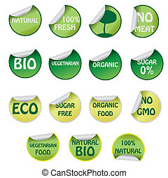 Set of icons with text about natural products on the white background.