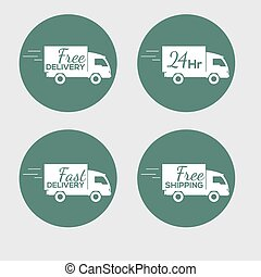 Set of icons with the delivery car of goods on round background