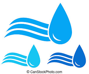 colorful set of icons with blue wave and water drops images