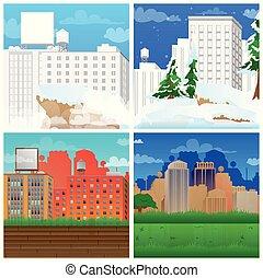 Set of illustrated cartoon city scene