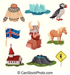 Set of illustrated Iceland sights. Vector on white background.