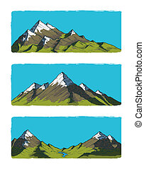 Set of illustration mountains
