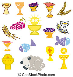 Set of Illustration of a communion depicting traditional...