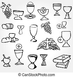 Set of Illustration of a communion depicting traditional Christian symbols including candle (light), chalice, grapes (wine), ear, cross and bread