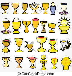 Set of Illustration of a communion