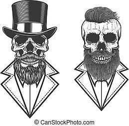 Set of Illustration of bearded hipster skull in vintage monochrome style. Design element for logo, emblem, sign, poster, card, banner. Vector illustration
