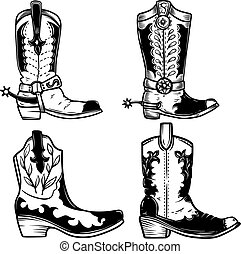 Set of illustration of cowboy boots in tattoo style. Design elements for logo, label, sign, poster, t shirt. Vector illustration