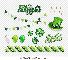 Set of illustrations for celebrating St. Patrick's Day. Leprechaun hat, pot of gold, clover and flag.