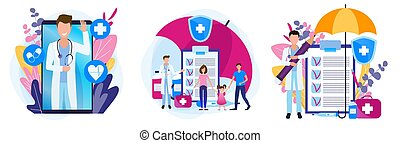 Set of illustrations of a medical theme. Family health insurance. Prescription for medicines.