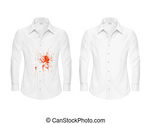 Set of illustrations of a white shirt with a red spot and clean, before and after a dry-cleaner s