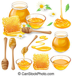 Set of illustrations of honey in honeycombs, in a jar, dripping from honey dipper