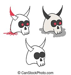 Set of illustrations of horny skulls in various styles.