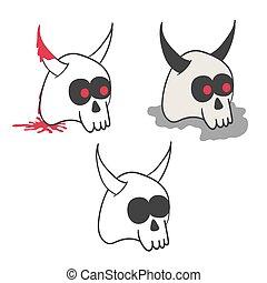 Set of illustrations of horny skulls in various styles.