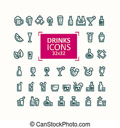 Set of illustrations of icons of drinks.