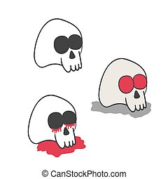 Set of illustrations of skulls in various styles.