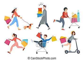 Set of illustrations on the theme of shopping and people with purchases. Characters go from a store