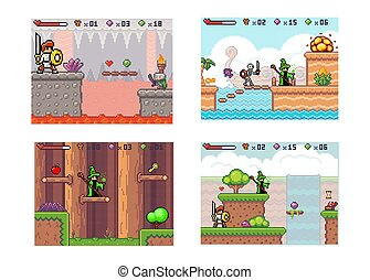 Set of illustrations on theme of knight fighting evil. Wizard with the main character go to goal