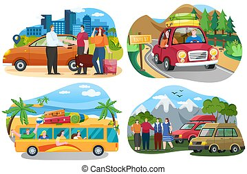 Set of illustrations on theme of traveling world by car. Friends come by truck to forest. People rest and spend time together outdoors. Travel by car around world. Hikers or tourist in nature