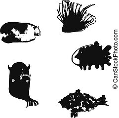 Set of illustrations with funny monsters. Cartoon style black color