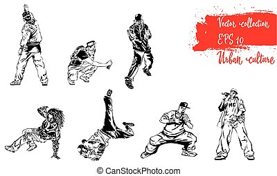 Set of illustrations with representatives of Urban Culture. Breakdancers, rapers and graffiti artists. Extreme theme modern print. Vector design elements. Isolated on white background