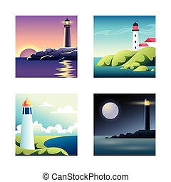 Set of illustrations with sea and lighthouses